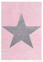 Kids rug Happy Rugs STAR pink/silver-gray 160x230cm