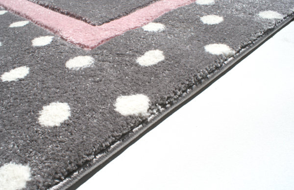 Kids rug Happy Rugs POINT silver-gray/pink 160x230cm