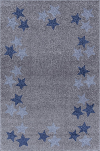 Kinderteppich Happy Rugs BORDERSTAR silbergrau/blau 160x230cm