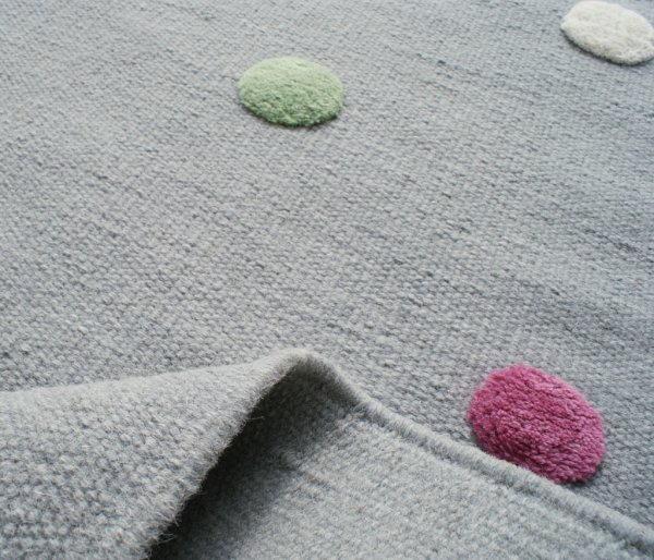 Virgin wool rug Happy Rugs COLORDOTS gray / multicolour 100x160 cm