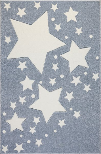 Kinderteppich Kids Love Rugs STARLINE blaugrau/weiss 100x150cm
