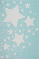 Kinderteppich Kids Love Rugs STARLINE mint/weiss 100x150cm