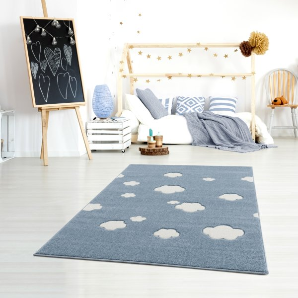 Kinderteppich Happy Rugs SKY CLOUD blau/weiss 160x230cm