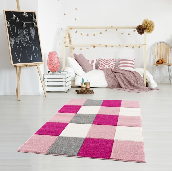 Kinderteppich Happy Rugs CHECKERBOARD rosa 120x180cm