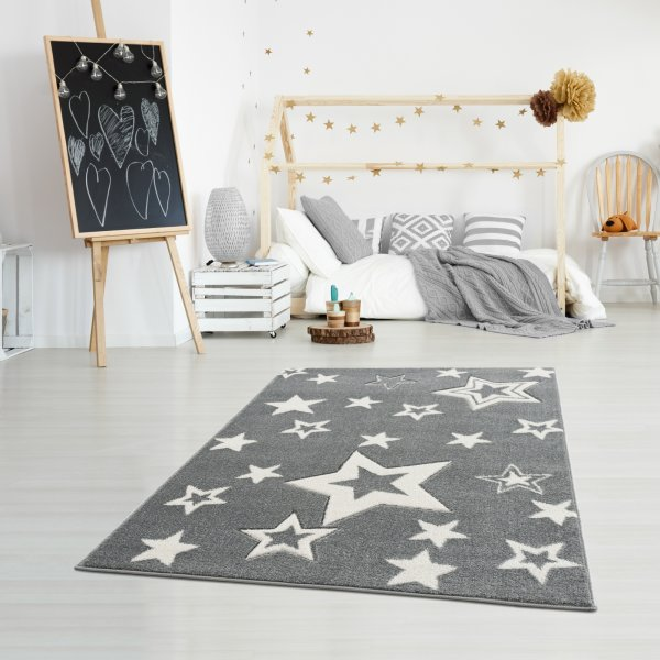 Kinderteppich Happy Rugs GALAXY silbergrau/weiss 120x180cm