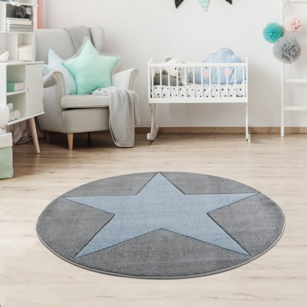 Kinderteppich Happy Rugs SHOOTINGSTAR silbergrau/blau 133 cm rund