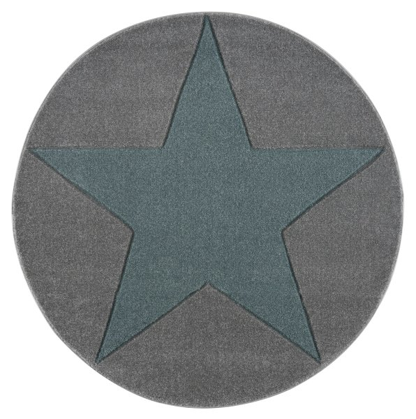 Kids rug Happy Rugs SHOOTINGSTAR silver-gray/mint 160cm round