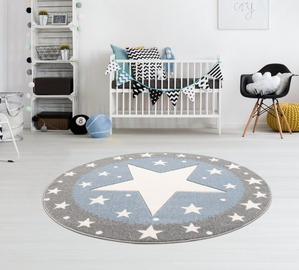 Kinderteppich Kids Love Rugs FANCY silbergrau/blau 100cm rund